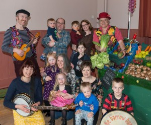 Lots of fun was had, with lots of singing and dancing with prizes of fresh fruit and veg being collected from the interactive barrow stall! Photo, Pictured with the band are some of the members of the branch and their families, with front right , Katrina Leese, Branch Vice Chairman. Angus Findlay